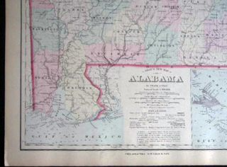 Original Double-Page Hand-Colored Gray's New Map of Alabama By Frank A. Gray