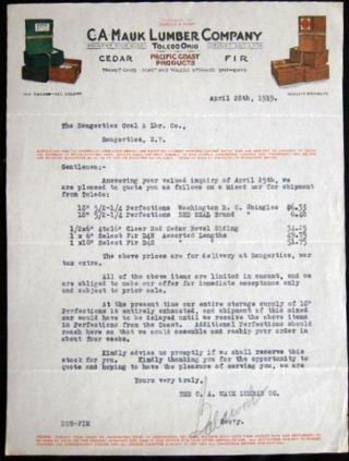 1919 Typed Letter on Illustrated Letterhead of C. A. Mauk Lumber Company Toledo Ohio. Americana -...
