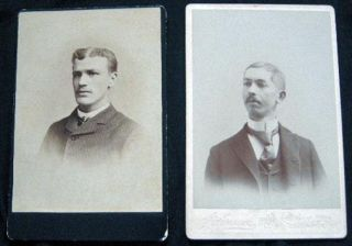 2 Circa 1880 Photographic Portrait Cabinet Cards: F.R. Johnson & The New Photographic Art Co....