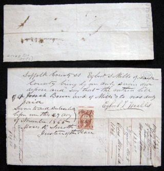 1865 Manuscript Promissory Notes with Revenue Stamps Estate of Mrs. Jane Blatchford, Smithtown, Long Island New York