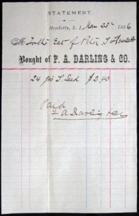 1886 Manuscript & Printed Statement Bought of F.A. Darling & Co., Hewletts, Long Island New York....