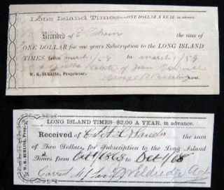 1858 & 1868 Manuscript Subscription Receipts for the Long Island Times, W.R. Burling Prop. Long...