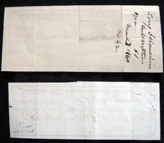 1858 & 1868 Manuscript Subscription Receipts for the Long Island Times, W.R. Burling Prop. Long Island New York