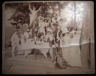 Circa 1885 Large Format Cabinet Card Photograph of a Bowling Party Given By Miss Gumbel Cooke of...