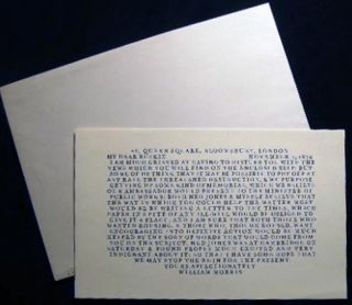 1988 Roxburghe-Zamorano Keepsake Printed at the Scenic Road Press William Morris to Ruskin Letter...