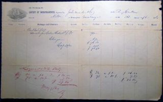 1864 Port of Philadelphia Manuscript & Printed Bill of Lading Entry of Merchandise Customs Duties...