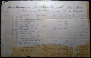 1864 Double-page Port of Philadelphia Manuscript & Printed Bill of Lading Entry of Merchandise...