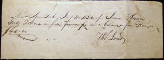 1832 Billing from Thomas Lord of New York to James Thomson for a Piano. Americana - 19th Century...