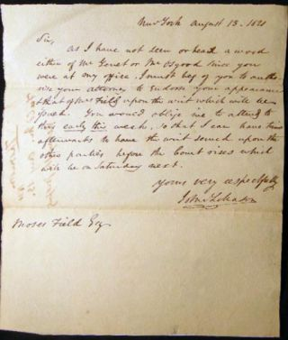 1821 Letter to Moses Field, Esq. Signed By John Lileason Regarding Property on Cherry St., New...