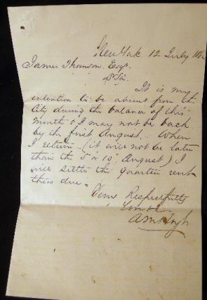1862 Letter from A.M. Hoyt to James Thomson Esq. Regarding a Rental Unit's Payment Due in New...