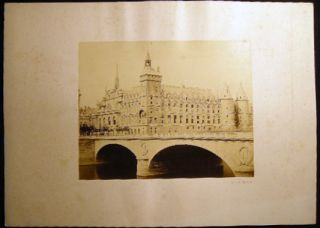 Circa 1870 Large Format Photograph of Pont au Change Bridge with Conciergerie in the Background By Achille Quinet