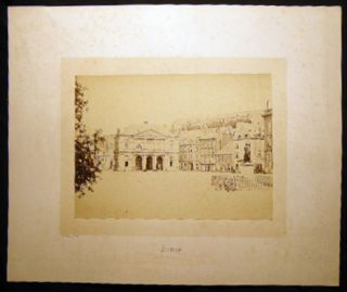 Circa 1870 Large Format Photograph of the City Hall & Statue of Henri de La Tour d'Auvergne, Viscount of Turenne of Sedan, France By Hector Husson
