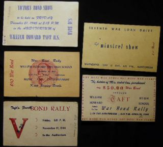 1943 - 1945 Group of Flyers and Tickets for Victory Bond Shows and Rallies William Howard Taft High School Bronx New York