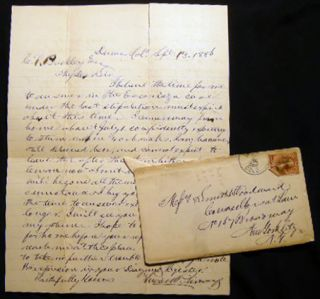 1886 Letter Signed By Lucille M. Livesey with Mailer to C.P. Buckley, Attorney in New York City...
