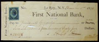 1878 First National Bank of Le Roy, N.Y. Check with Revenue Stamp. Americana - 19th Century -...