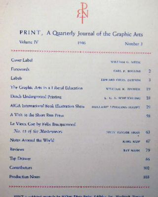 Print Quarterly Journal of the Graphic Arts Volume IV Number 3 1946