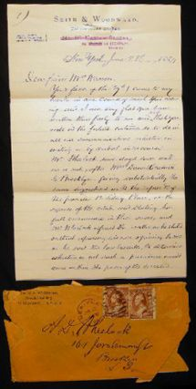 1884 5-page Handwritten Letter Signed from Smith & Woodward Counsellors at Law to Mrs. Warren...