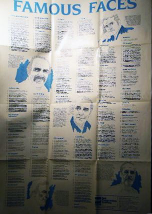 Circa 1985 Famous Faces Typography Typefaces Style Poster with Portraits of Aldo Novarese, Ed...