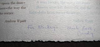 Flowers Were Left There Poetry Broadside Signed and Inscribed By Andrea Wyatt