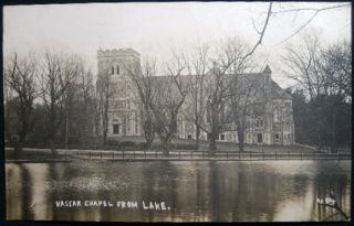 Circa 1909 Real Photo Postcard Vassar College Chapel from Lake Poughkeepsie, N.Y. Americana -...