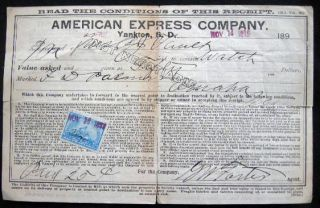 1899 American Express Company Yankton, South Dakota Receipt for the Express Forwarding of a...