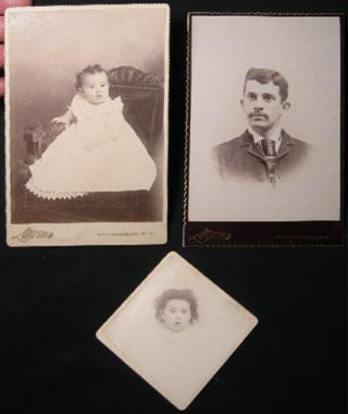 Circa 1895 Two Cabinet Card Photographs and One Smaller Mounted Image of A Baby & A Gentleman By...