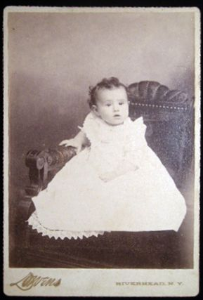 Circa 1895 Two Cabinet Card Photographs and One Smaller Mounted Image of A Baby & A Gentleman By Lowens Photographer Riverhead Long Island New York