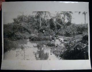 Black and White Photograph of Wash Day at Harden Gut Frederiksted, St. Croix By Axel Ovesen....