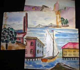 Circa 1920 Group of Three Original Watercolors By Harry D. Pelcher. Americana - 20th Century -...
