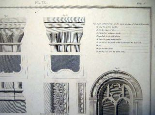 Parts of Malmsbury Abbey Church Pl. IX Vol. V. Copper Engraving By Basire After the Original By F. Nash