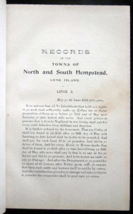 Records of the Towns of North and South Hempstead, Long Island, N.Y. Volumes 1-7