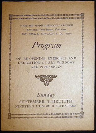 Sunday September Thirtieth Nineteen Hundred Seventeen Program of Re-Opening Exercises and...