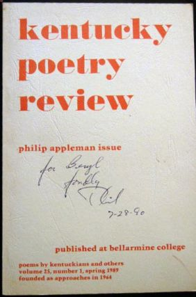 Kentucky Poetry Review Philip Appleman Issue Volume 25, Number 1, Spring 1989. Literature -...