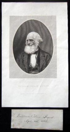1866 Signature and Date of April 14th By William Cullen Bryant (with) an Engraved Portrait of the...