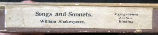 Songs and Sonnets William Shakespeare Edited By F.T. Palgrave in the Publisher's Boxed & Labeled Pyrogravure Full Leather Binding
