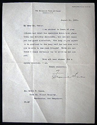 1923 Typed Letter Signed By Frank Knox, President and Editor of The Manchester Union and Leader...