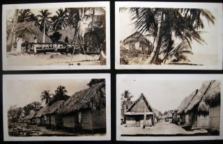 1935 Four Snapshot Photographs of Indigenous Homes & Landscapes Panama Canal Zone. Panama - 20th...