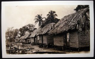 1935 Four Snapshot Photographs of Indigenous Homes & Landscapes Panama Canal Zone