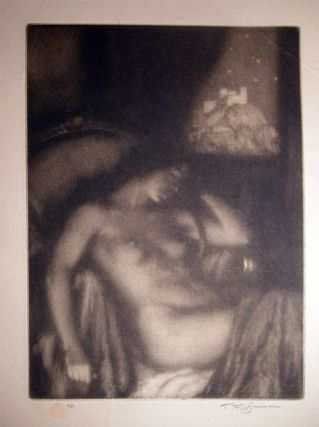 "1922 Female Nude Mezzotint ""The Evening"" (Dreaming) By Czech Artist Tavik Frantisek Simon (1877 -..."