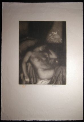 """1922 Female Nude Mezzotint """"The Evening"""" (Dreaming) By Czech Artist Tavik Frantisek Simon (1877 - 1942) Signed & with Seal."""
