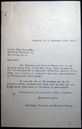 1917 Typed Letter Signed from Lieutenant Colonel Rockwell, Signal Corps, Commanding Headquarters Aviation School Hazelhurst Field Mineola, NY Regarding a Speaking Engagement at the Woman's Press Club of New York.