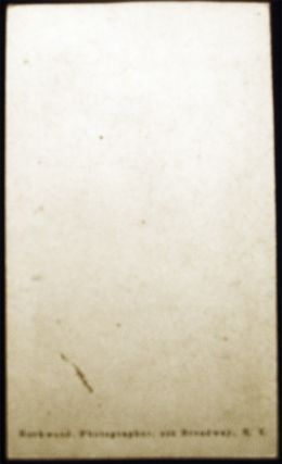 1858 Carte-de-Visite Photograph of Mary Keese Lawrence Black By Rockwood, Photographer, 839 Broadway, N.Y.