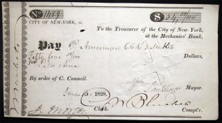 1828 Signed William Paulding Mayor of the City of New York. Americana - 19th Century - New York...