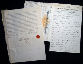 1882 Letter Signed with Related Ephemera, From Theo. W. Morris & Company, Importers of Plate and...