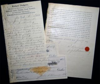 1882 Letter Signed with Related Ephemera, From Richard Dudgeon, Patentee and Manufacturer of...