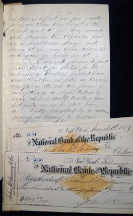 1882 Letter Signed with Related Ephemera, From Richard Dudgeon, Patentee and Manufacturer of Improved Hydraulic Jacks, Punches, Steam Hammers, and Patent Roller Tube Expanders, 24 Columbia St., NY Regarding the Resolution of a Bankruptcy and Payments