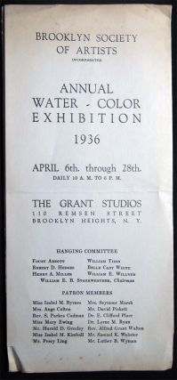 Brooklyn Society of Artists Annual Water-Color Exhibition 1936 April 6th. Through 28th...The...