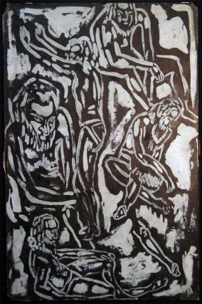 Circa 1955 Abstract Group of Bearded Males Figural Composition, Ink on Paper Art Signed by Rose...