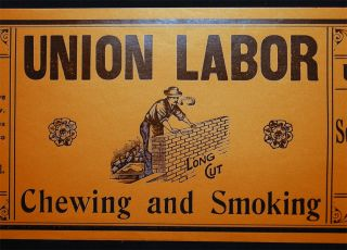 Circa 1920 Large Illustrated Union Labor Long Cut Chewing and Smoking Tobacco Company Label Manufactured By Scotten, Dillon Company, Detroit, Michigan