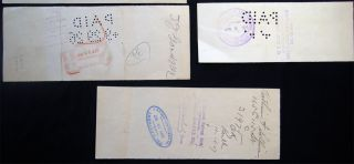 1864 - 1937 Group of Checks & Other Financial Instruments Drawn on New York City Banks: The Nassau Bank, Lafayette National, Morton Trust, East River National, Twelfth Ward Bank, Mechanics and Metals National, Bowling Green Trust, Corn Exchange and Others